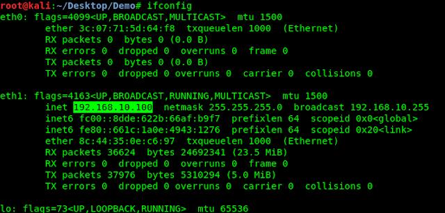 ifconfig in kali linux