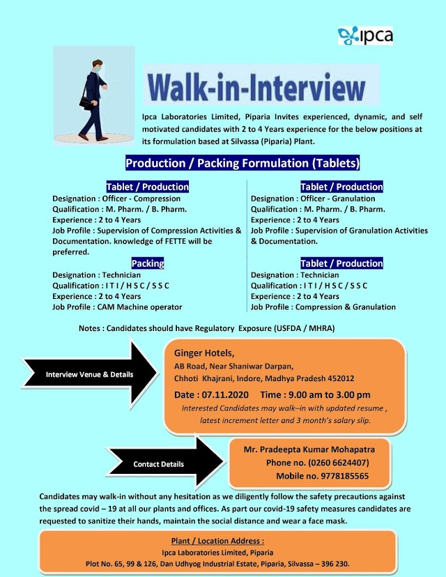 IPCA labs | Walk-in interview for Production/Packing on 7 Nov 2020 at Indore