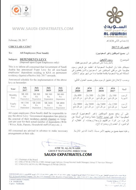 SAUDI COMPANIES NOTICE TO EXPAT EMPLOYEES
