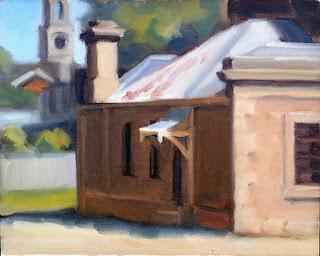 Oil painting of a Victorian-era sandstone building with a porch.
