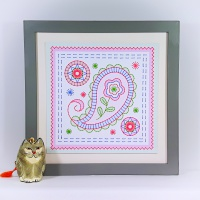 Paisley stitching on card embroidery paper pricking pattern.