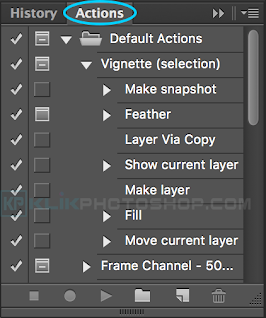 fungsi panel actions photoshop