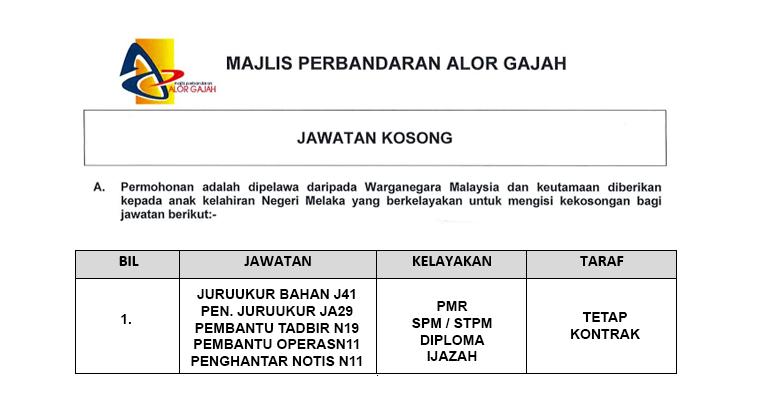 Majlis Perbandaran Alor Gajah Mpag Jawatan Baru Dibuka Jobcari Com Jawatan Kosong Terkini