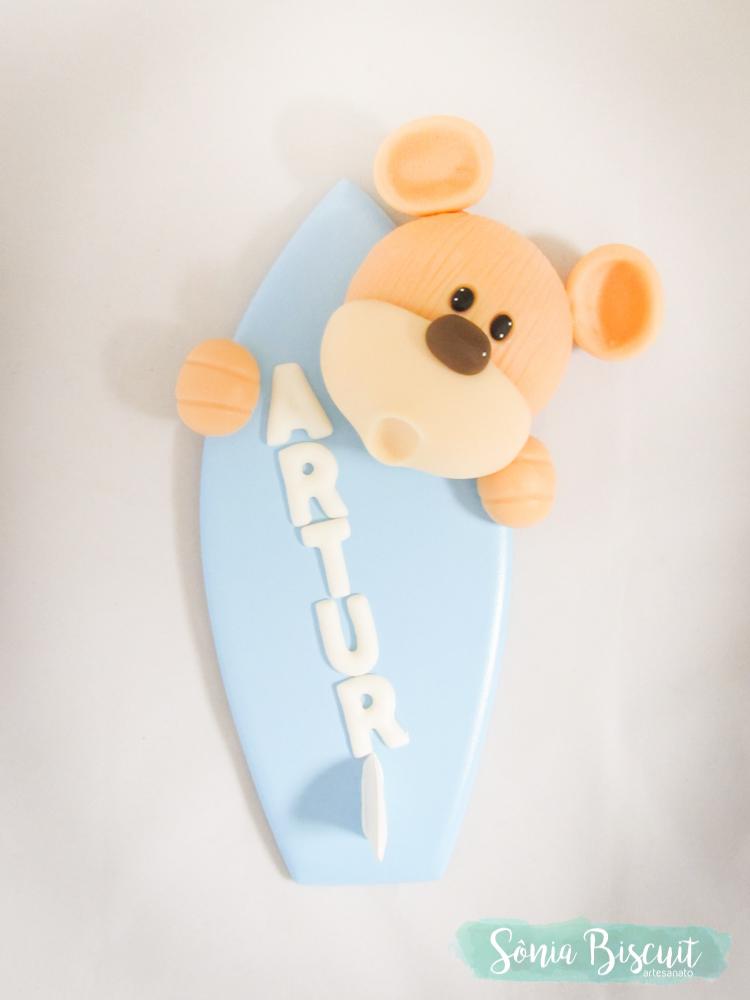 ursinho urso surfista surf prancha biscuit lembrancinha quadrinho