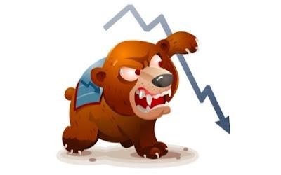 Ilustrasi Bearish Market Digambarkan Dengan Seekor Beruang Yang Mencakar Dari Atas Kebawah