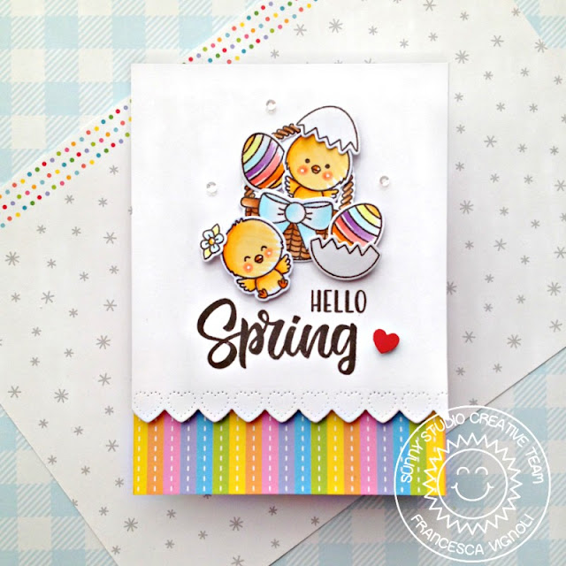 Sunny Studio Stamps: Heartstrings Border Dies Chickie Baby Spring Themed Card by Franci Vignoli