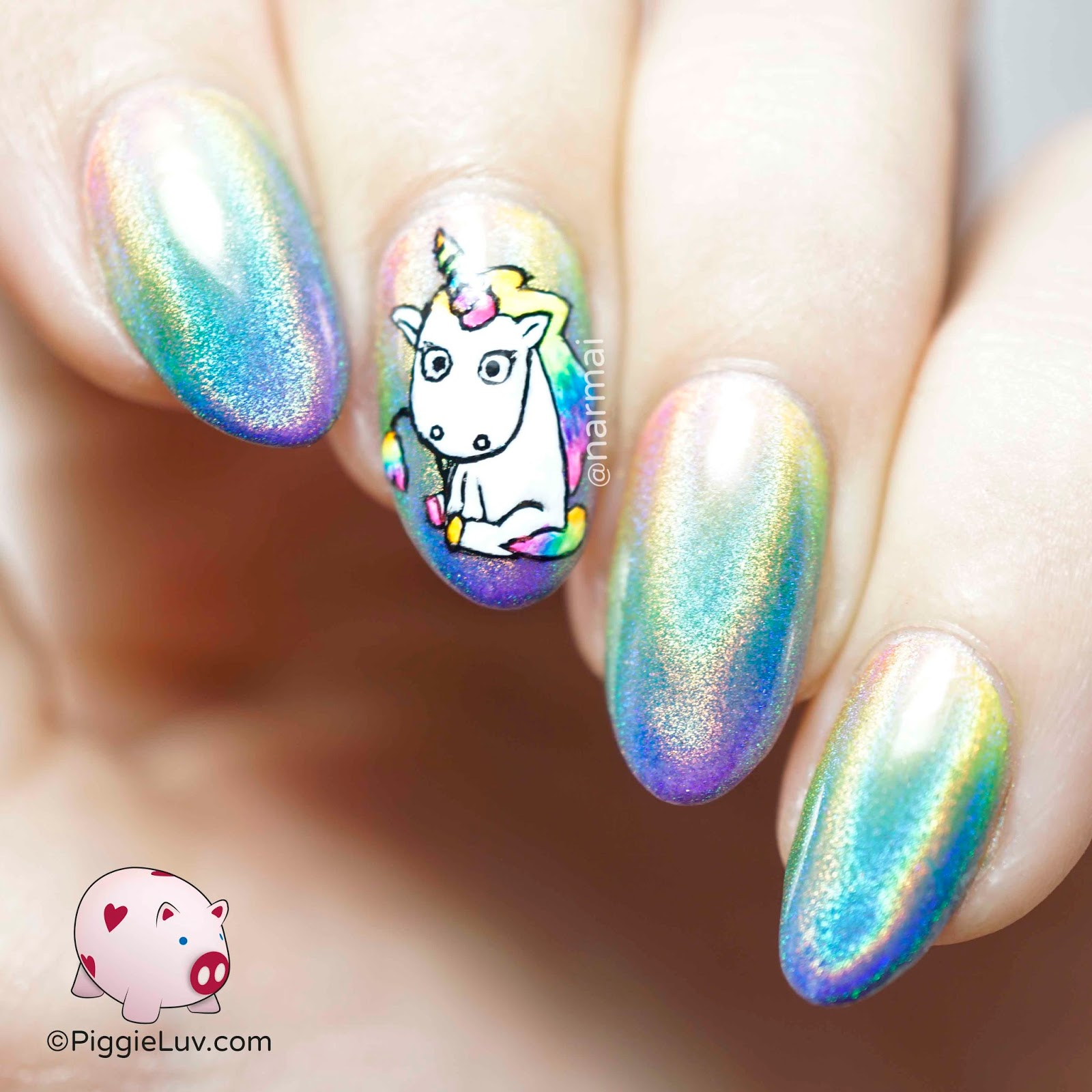 Holo Rainbow Unicorn Nail Art
