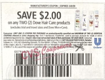 """Dove Hair Care products Coupon from """"RetailMeNot"""" insert week of 2/23/20."""