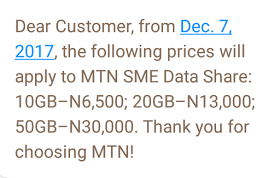 MTN Has Increased The Price Of Their SME Data Share