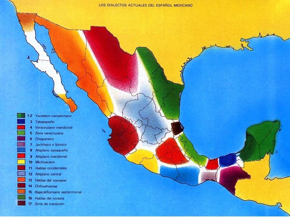 Regiones dialectales de México, de acuerdo con Juan Miguel Lope ...