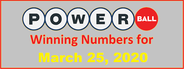 PowerBall Winning Numbers for Wednesday, March 25, 2020