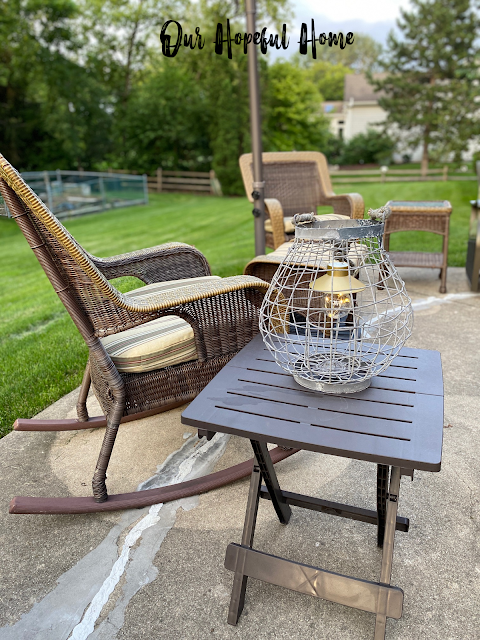 patio furniture rocking chair folding side table lantern