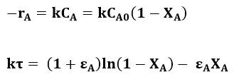 Ecuaciones de la cinética de reacción
