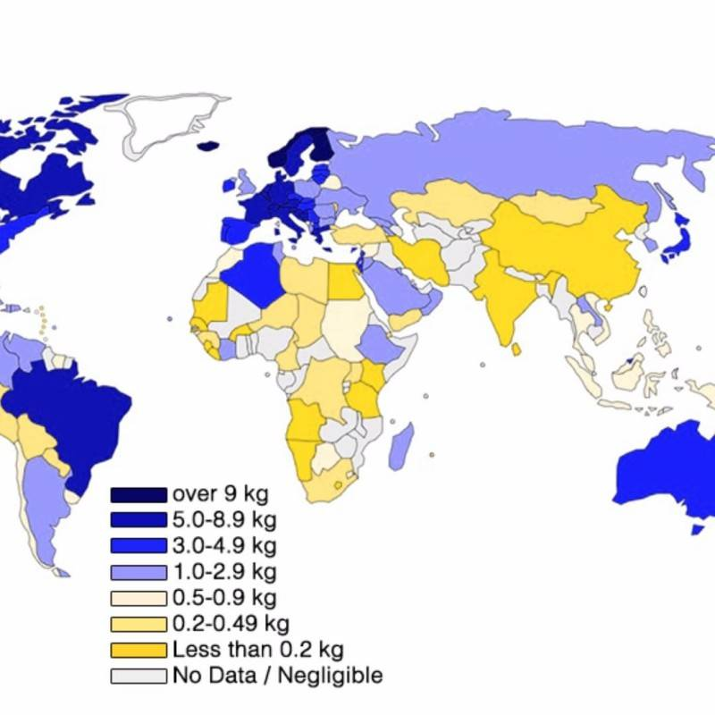 Map of the Worldwide coffee consumption