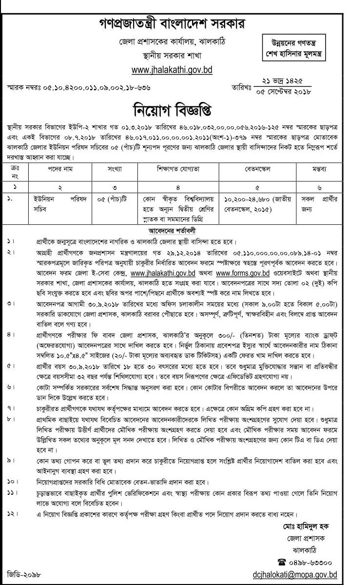 Jhalokati district Union Council Secretary Job Circular 2018