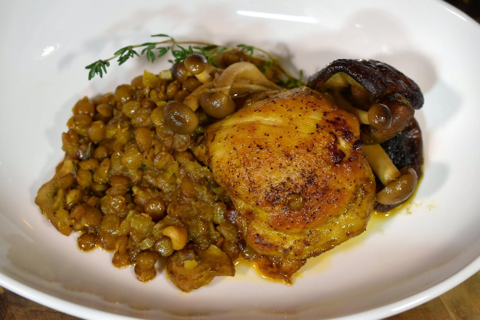 Chicken and Lentils with Mushroom Escabeche