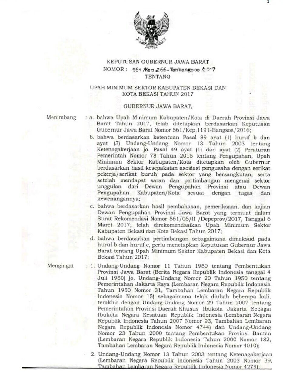 Sk Gubernur Jawa Barat Umk 2019 Pdf : gubernur, barat, Bekasi, Tahun, Ditandatangi, Gubernur, Jabar, MEDIA
