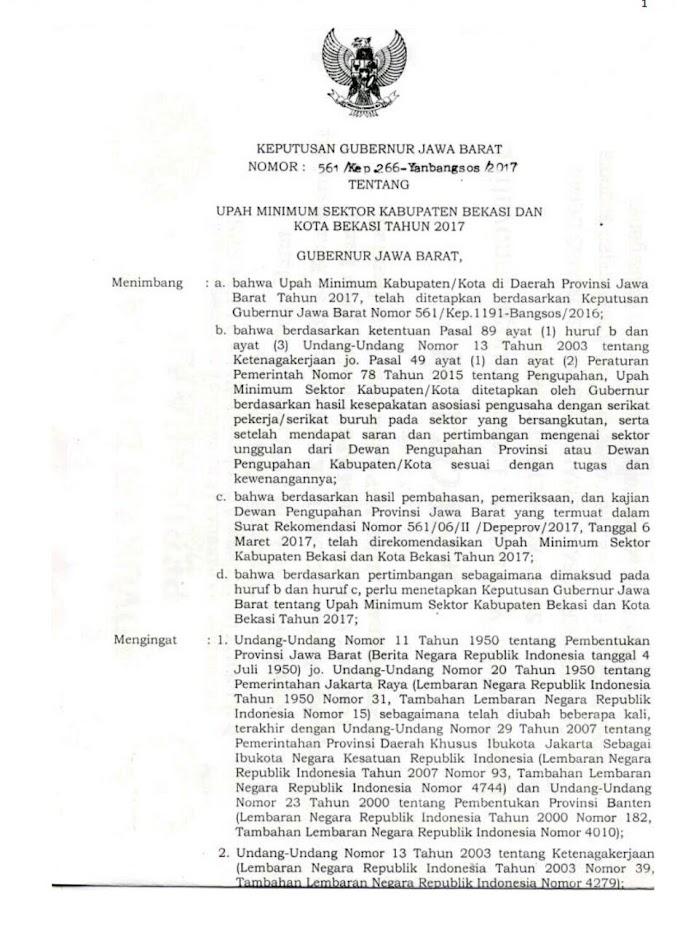 UMSK Bekasi Tahun 2017 Ditandatangi Gubernur Jabar