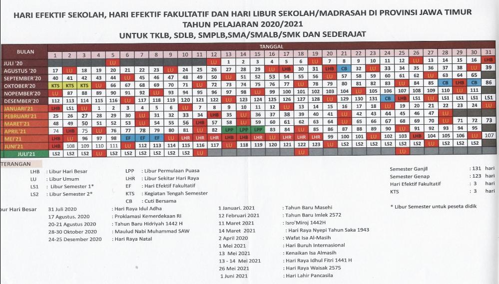 Kalender Pendidikan 2020 2021 Provinsi Jawa Timur Buka Info