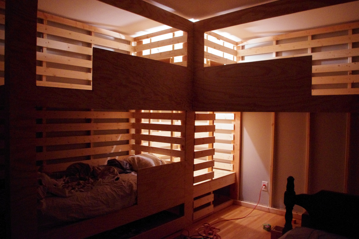 Triple Bunk Bed For The Boys With Built In Fort