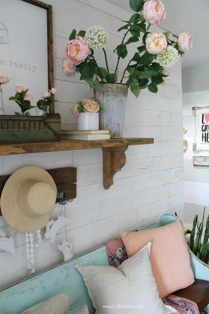 farmhouse spring mantel decorating ideas