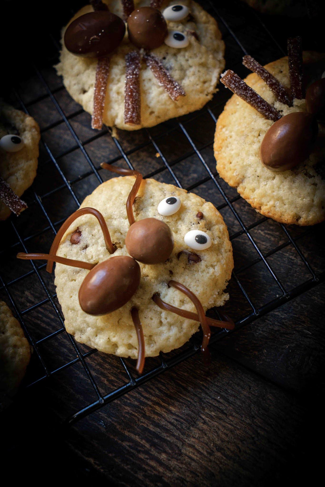 recette d'Halloween, cookies araignée