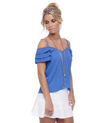 blusinha blusa azul mulher feminina blue blouse shirt camicetta blu bleue linda fashion moda tendencia alça cigana alcinha