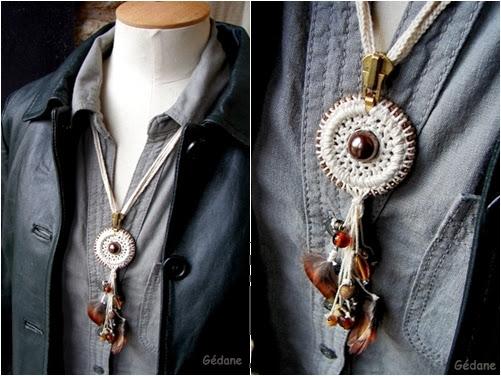 Como hacer un Collar con Cremallera-Argolla a Crochet