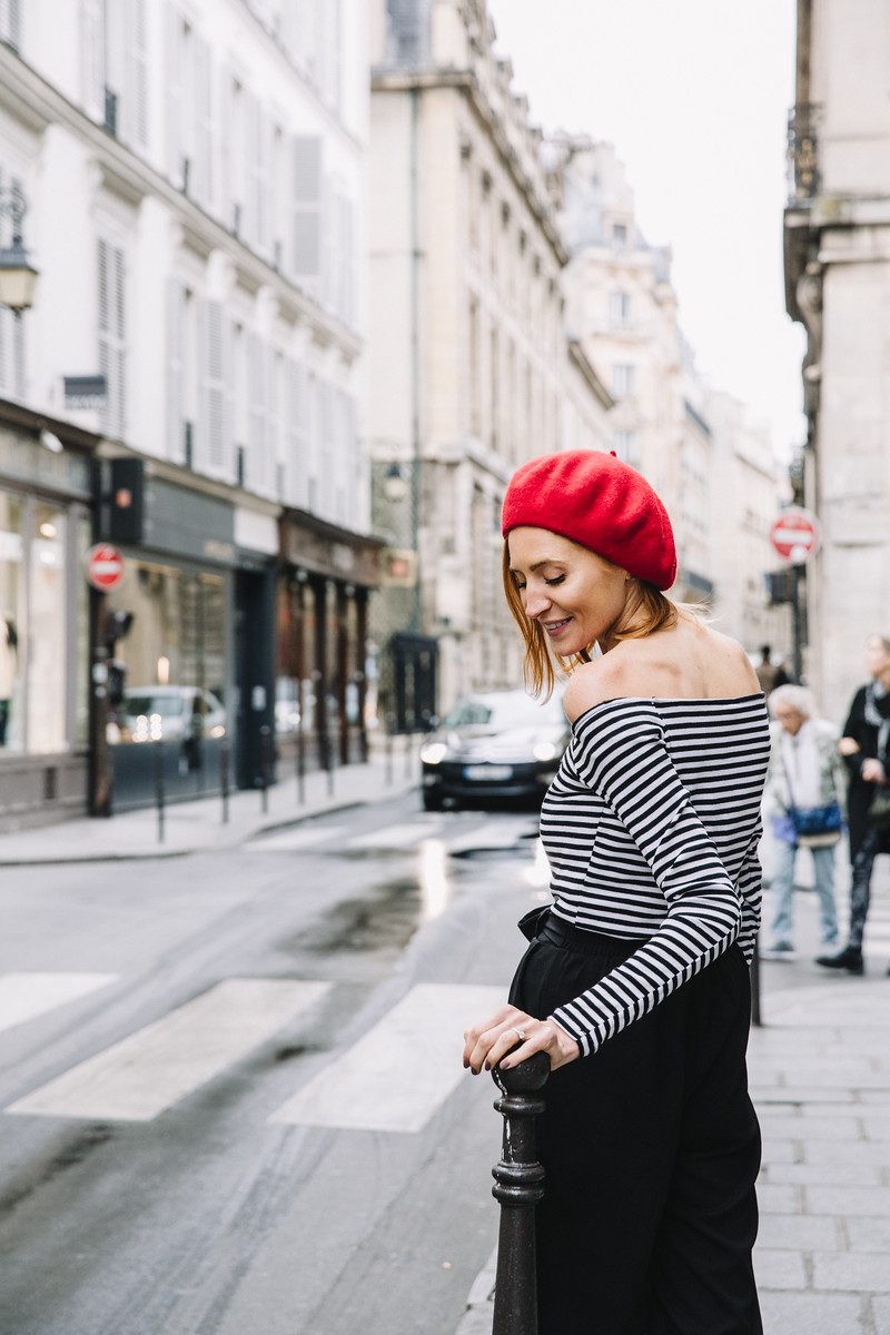 Paris Flytographer, red beret, strip shirt, engagement, couple in Paris, le marais
