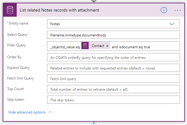2. Retrieve Notes with attachment related to the entity