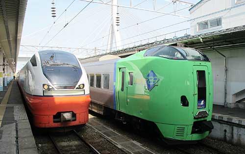 Trains at Aomori Station, Tohoku, Japan.