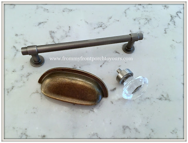 farmhouse kitchen-Cabinet Hardware-Cup Pulls-Crystal Knobs-Mixing Metals- DIY-from my front porch to yours