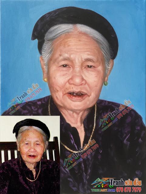 vẽ chân dung bà cụ