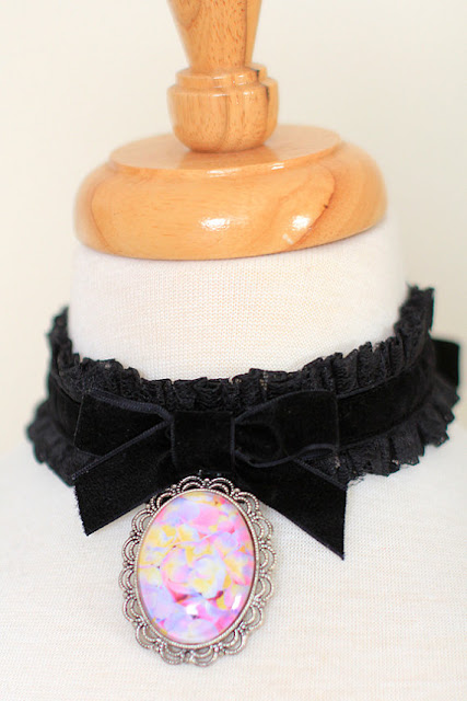 Balck Choker Necklace with Flower Pendant by Mademoiselle Mermaid