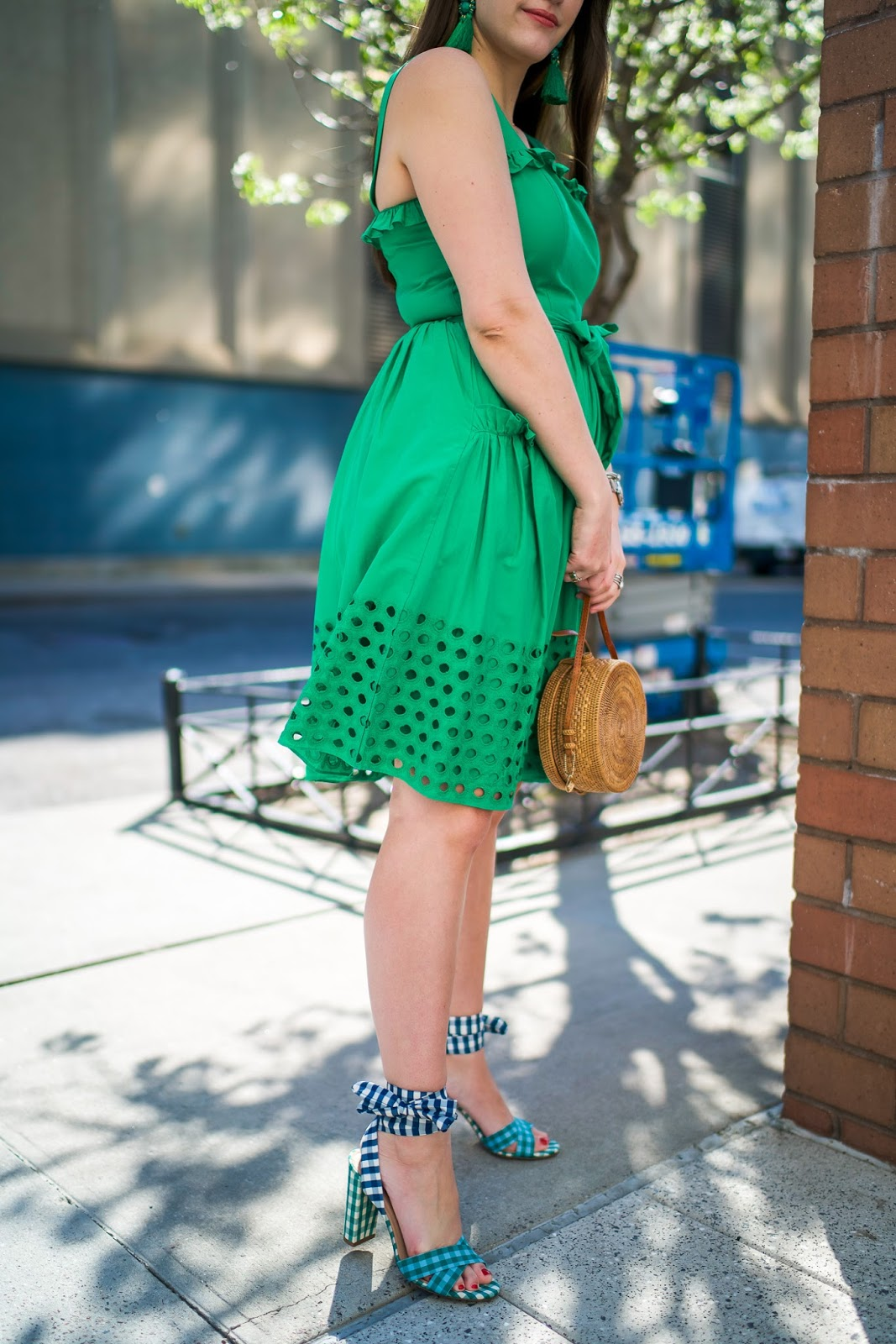 Keeneland Green Sundress styled by popular New York fashion blogger, Covering the Bases