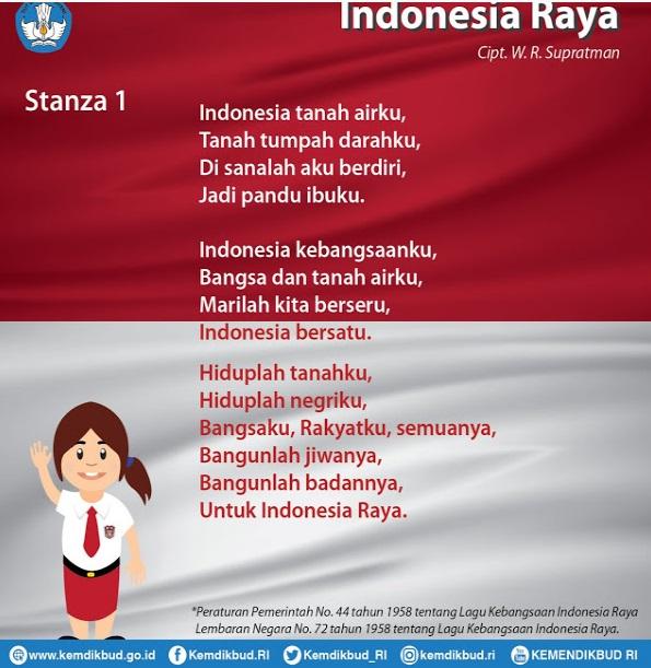Lagu Indonesia Raya 3 Stanza Yang Benar