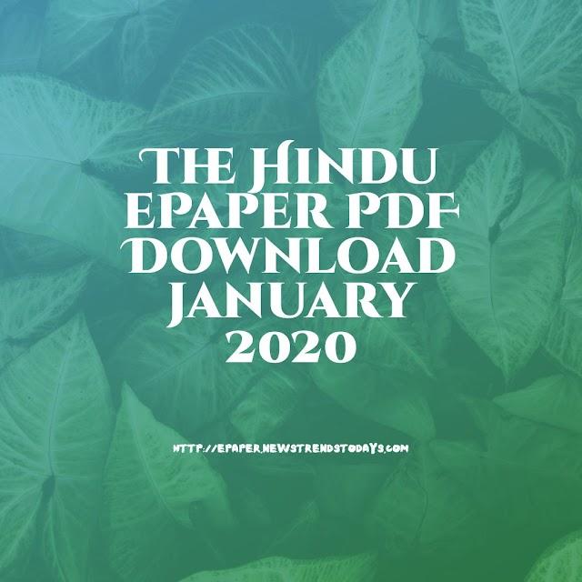 The Hindu ePaper PDF Download january 2020