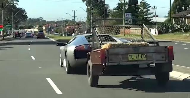 ランボルギーニでヤギを載せたトレーラーを牽引している様子が目撃され話題に!