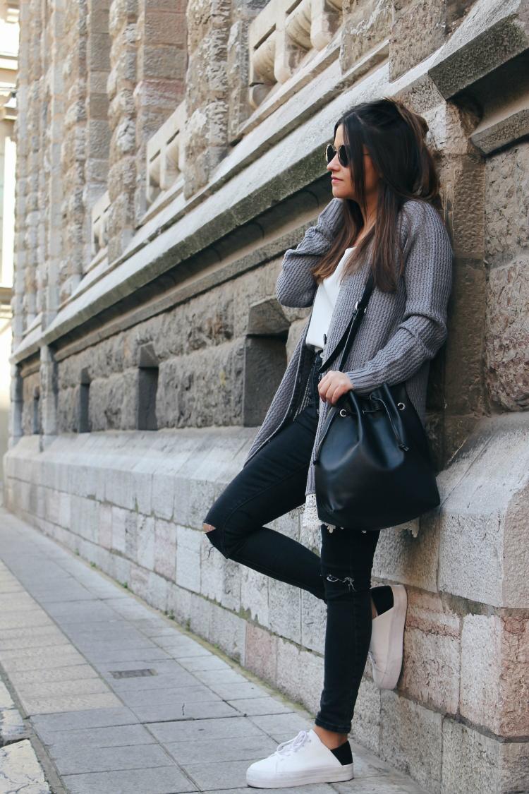 cardigan gris blog de moda
