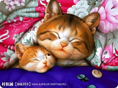 Кошка с котенком. Картина Мурамацу