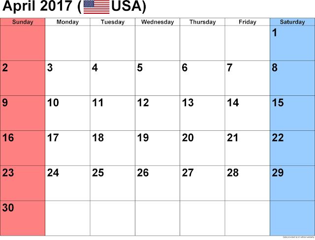 April 2017 Calendar, April 2017 Printable Calendar, April 2017 Calendar Printable, April 2017 Calendar Template, April 2017 Blank Calendar