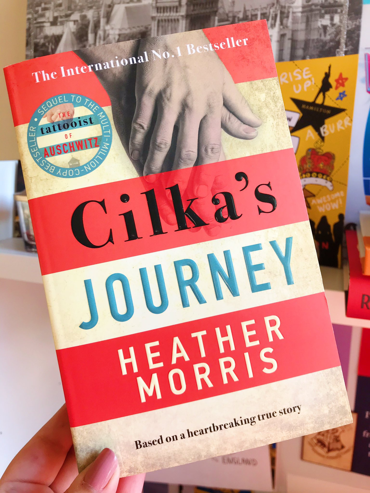 Cilka's Journey by Heather Morris held up in front of desk