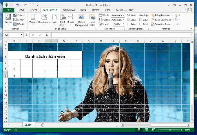 Cách thêm hình nền (background) vào Excel