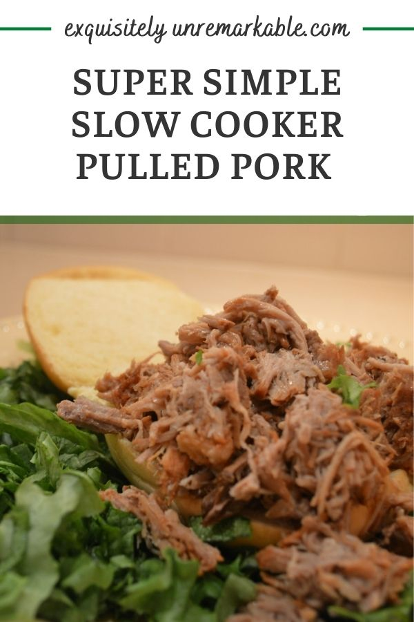 Slow cooker pulled pork sandwich on a bun with lettuce