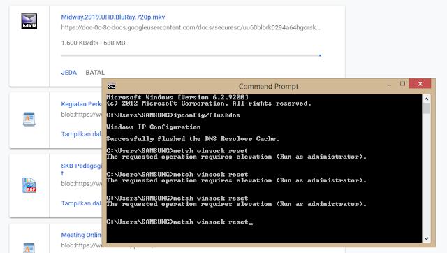 netsh winsock reset command promt