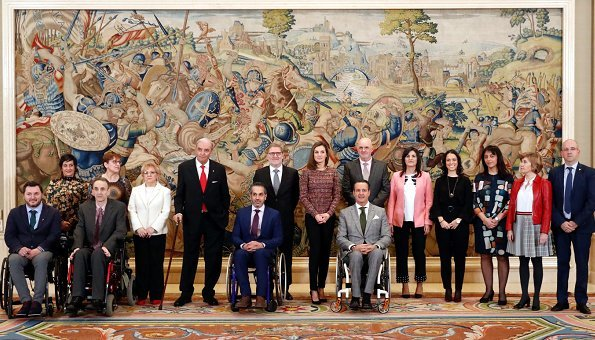 Queen Letizia firstly received representatives of Royal Academy of Engineering of Spain and ASPAYM Castilla Foundation at Zarzuela Palace