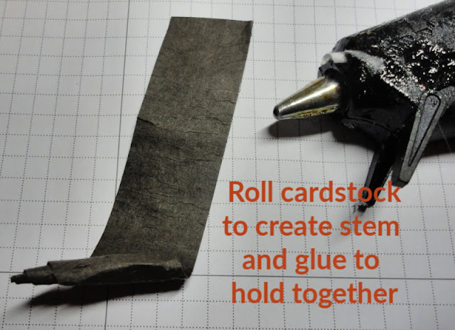 Roll cardstock diagonally to create stem and glue together - Nicole Steele The Joyful Stamper