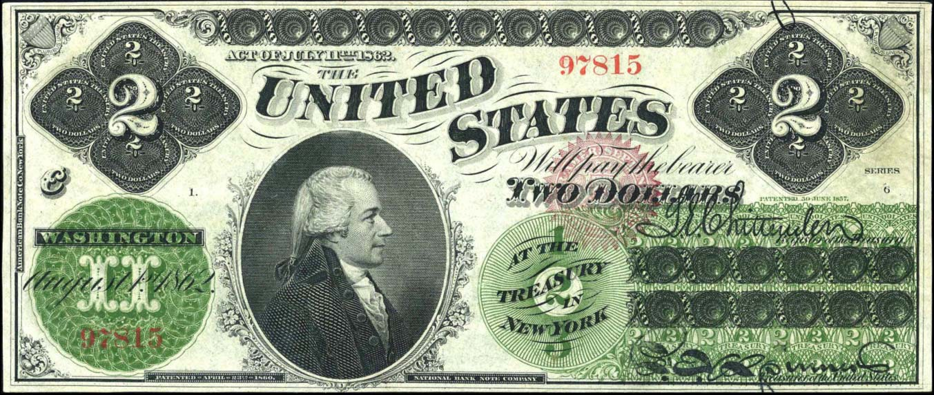 Банкнота 2 доллара США 1862