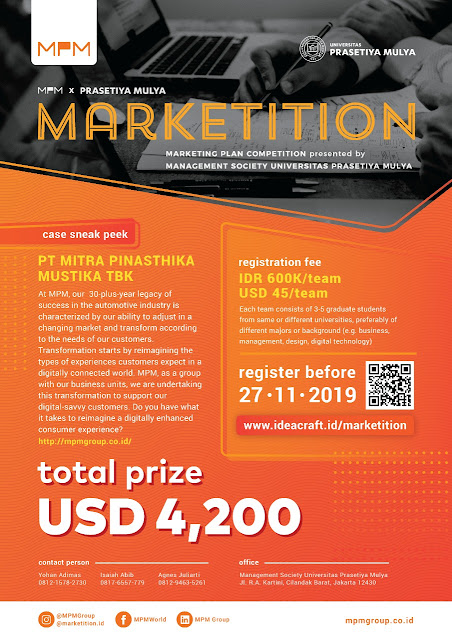 Marketition (Marekting Plan Competition) Total Hadiah USD 4.200
