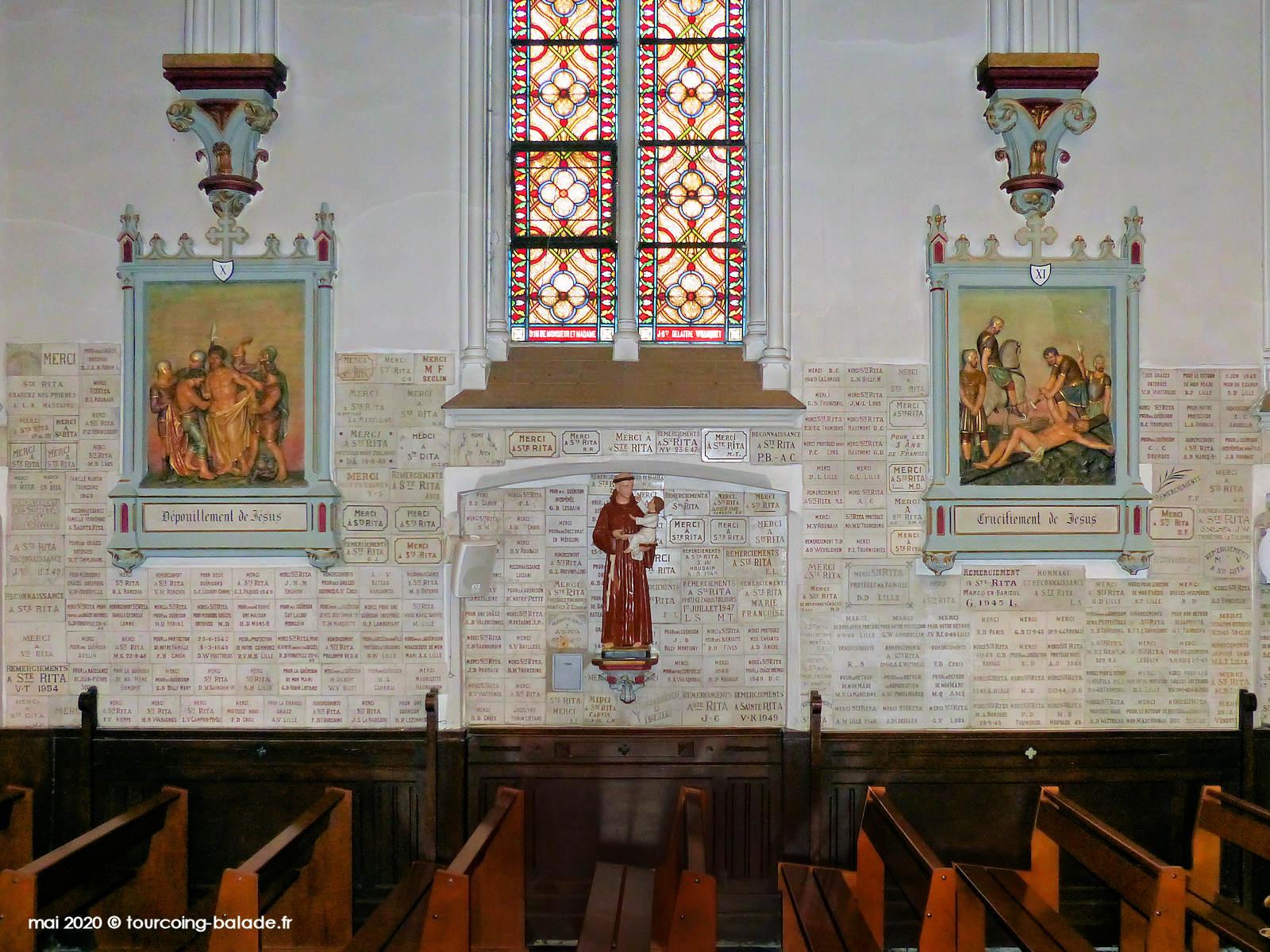 Bas-côté de la nef de l'église Sainte Rita, Vendeville, 2020